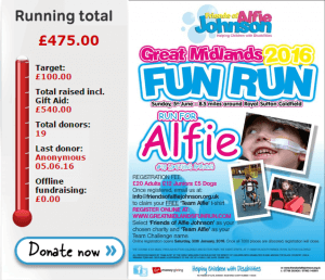 Friends of Alfie Johnson Great Midlands Fun Run